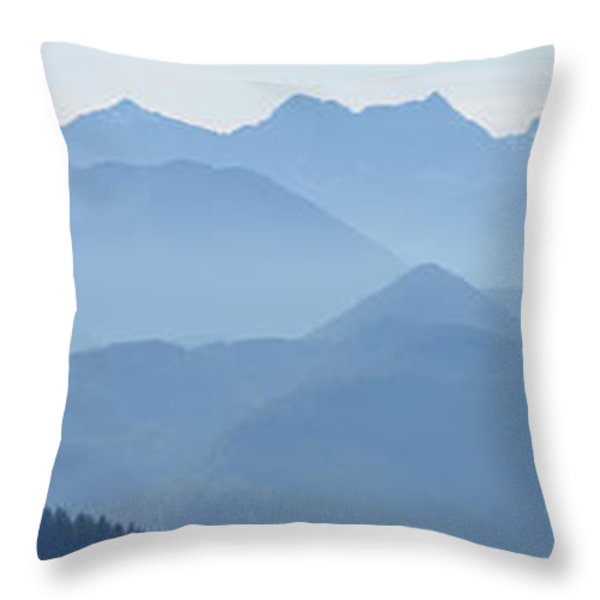 Panorama View Of The Bavarian Alps Throw Pillow by Rudi Prott