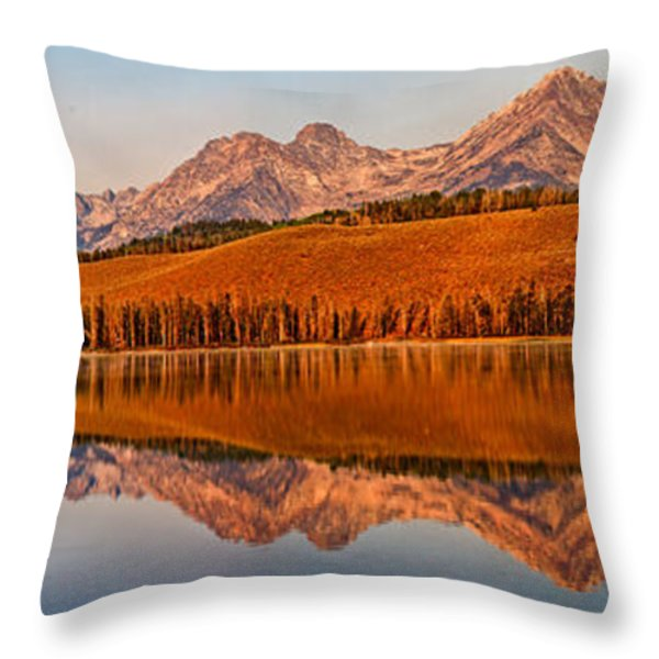 Panoramic Of Little Redfish Lake Throw Pillow by Robert Bales