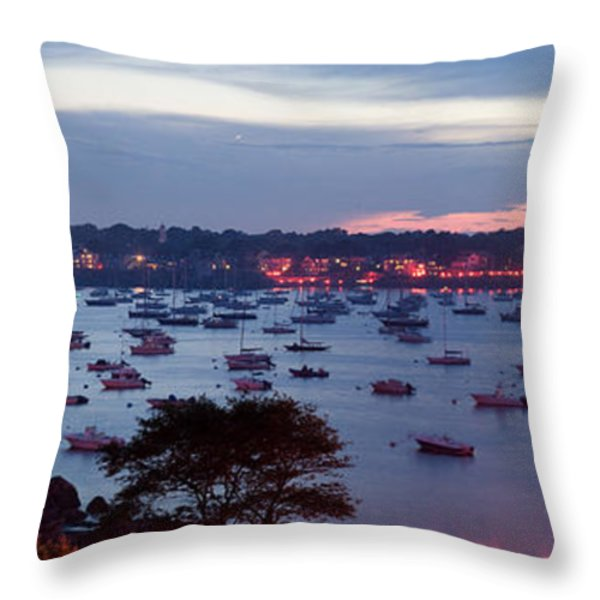 Panoramic of the Marblehead Illumination Throw Pillow by Jeff Folger