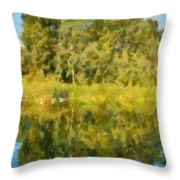 Panoramic Painting Of Ducks Lake Throw Pillow by George Atsametakis
