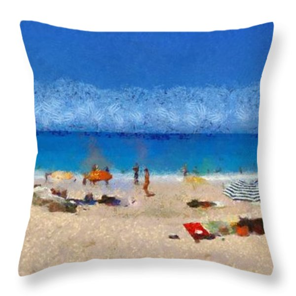 Panoramic painting of Porto Katsiki beach Throw Pillow by George Atsametakis