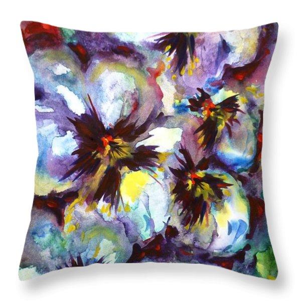 Pansies Throw Pillow by Zaira Dzhaubaeva