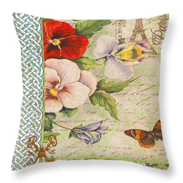 Pansy Garden-a Throw Pillow by Jean Plout
