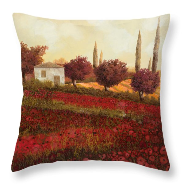 papaveri in toscana Throw Pillow by Guido Borelli