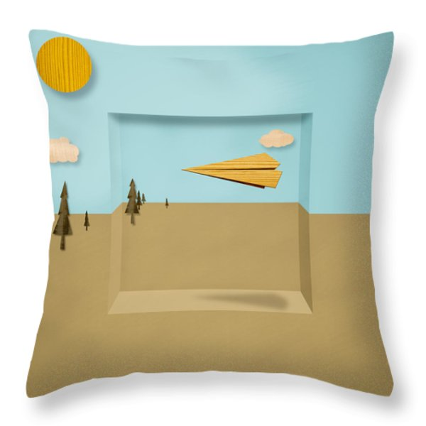 Paper Airplanes of Wood 12 Throw Pillow by Yo Pedro