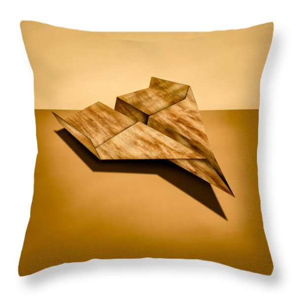 Paper Airplanes of Wood 5 Throw Pillow by Yo Pedro