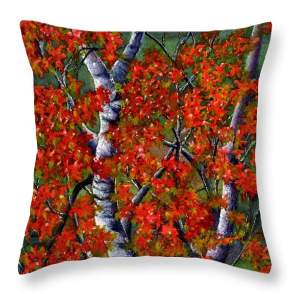 Paper White Birch reflections Throw Pillow by Janine Riley