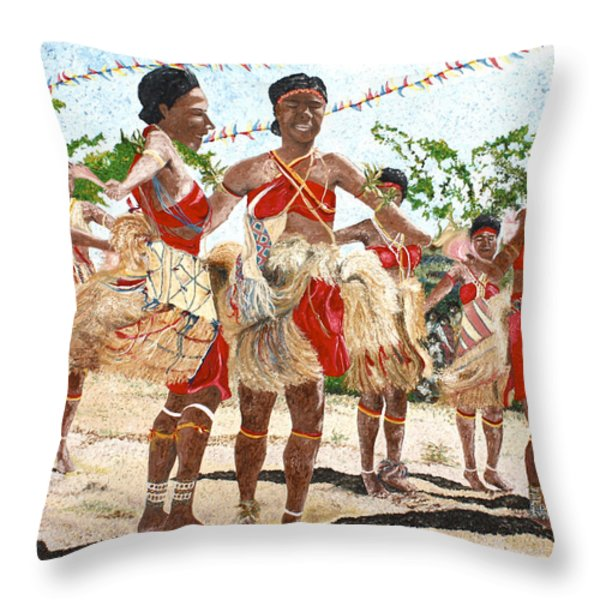 Papua New Guinea Cultural Show Throw Pillow by Carol Mallillin-Tsiatsios