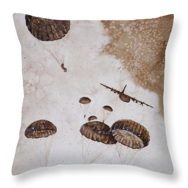 Paratroopers Throw Pillow by Zaira Dzhaubaeva