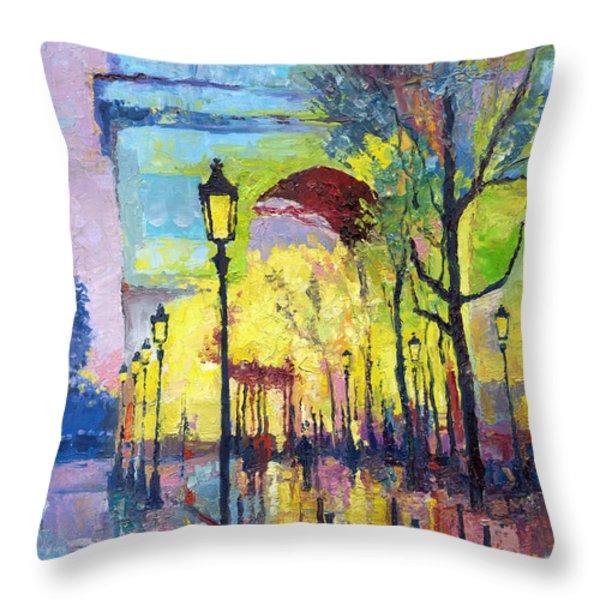 Paris Arc De Triomphie Throw Pillow by Yuriy  Shevchuk