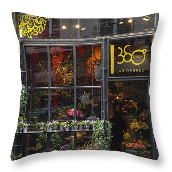Paris Flower Shop Throw Pillow by Glenn DiPaola