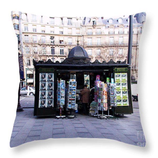 Paris Magazine Kiosk Throw Pillow by Thomas Marchessault