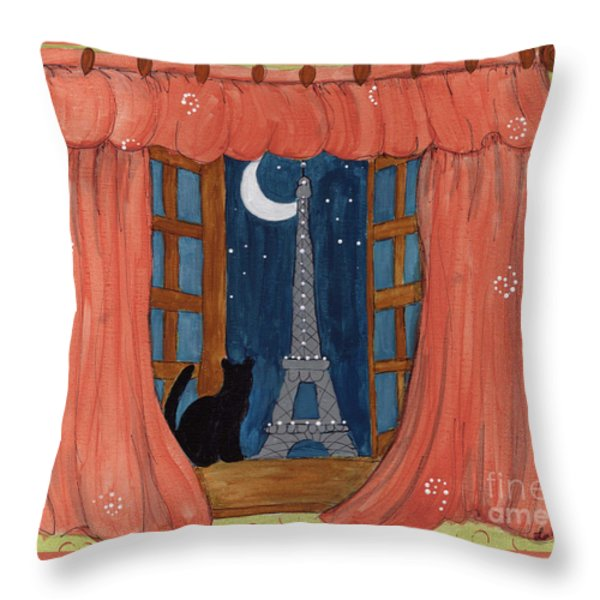 Paris Moonlight Throw Pillow by Lee Owenby