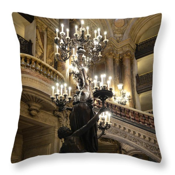 Paris Opera House Grand Staircase and Chandeliers - Paris Opera Garnier Statues and Architecture  Throw Pillow by Kathy Fornal