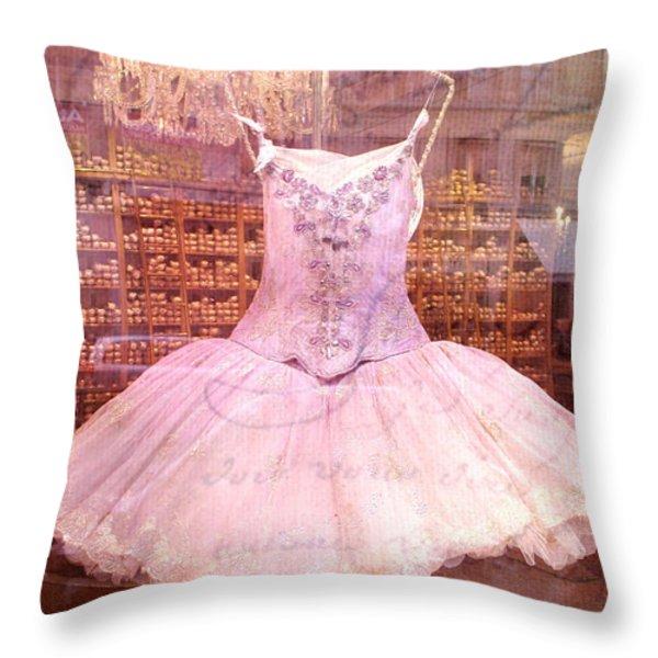 Paris Pink Ballerina Tutu - Paris Repetto Ballet Shop - Paris Ballerina Dress Tutu - Repetto Ballet Throw Pillow by Kathy Fornal