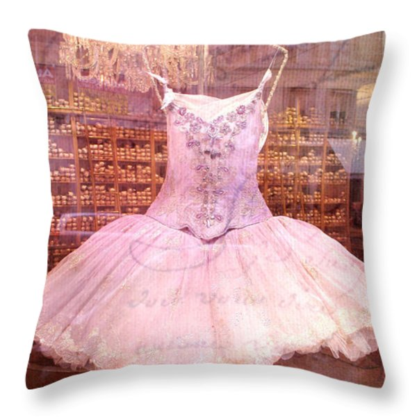 Paris Pink Ballerina Tutu - Paris Repetto Ballet Shop - Paris Ballerina Dress Tutu - Repetto Ballet Throw Pillow by Kathy Fornal