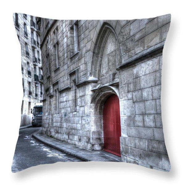 Paris Red Door Throw Pillow by Evie Carrier