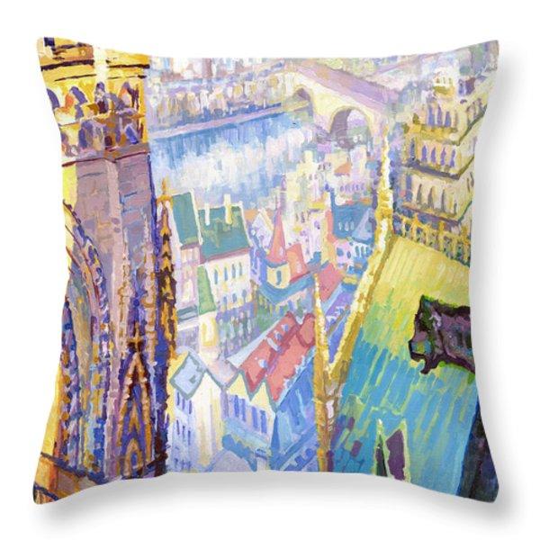 Paris Shadow Notre Dame De Paris Throw Pillow by Yuriy  Shevchuk