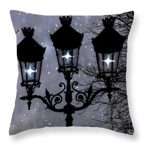 Paris Street Lights Lanterns - Paris Starry Night Dreamy Surreal Starlit Night Street Lamps Of Paris Throw Pillow by Kathy Fornal