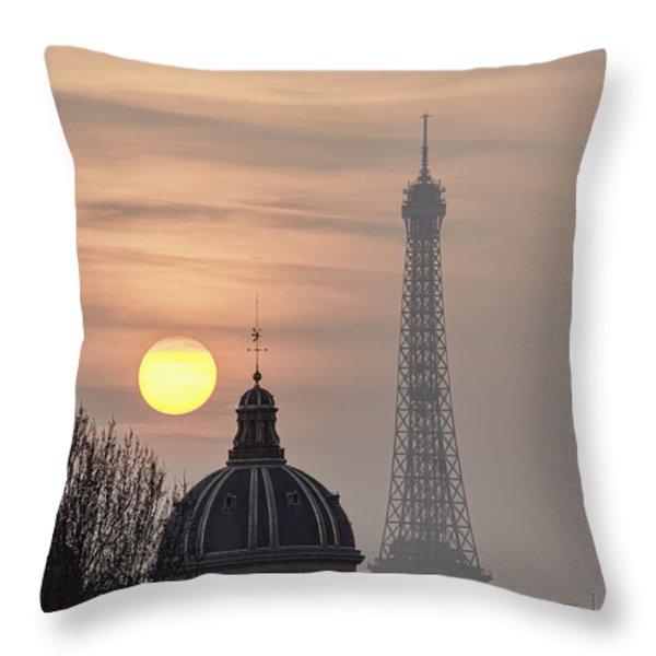 Paris Sunset I Throw Pillow by Mark Harrington