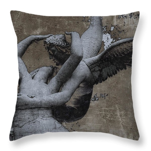 Paris - Surreal Angel Art - Eros And Psyche  Throw Pillow by Kathy Fornal