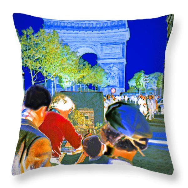 Parisian Artist Throw Pillow by Chuck Staley
