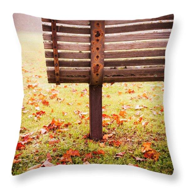 Park Bench In Autumn Throw Pillow by Edward Fielding