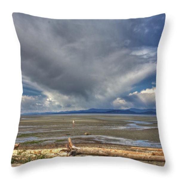 Parksville Beach - Low Tide Throw Pillow by Randy Hall