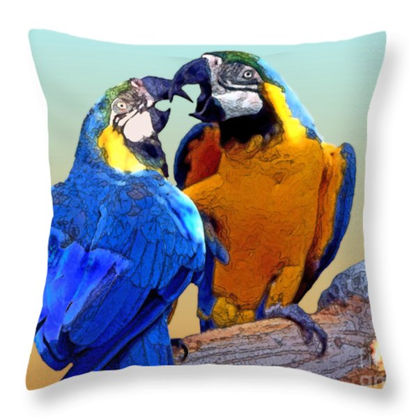 Parrot Passion 2 Throw Pillow by Linda  Parker
