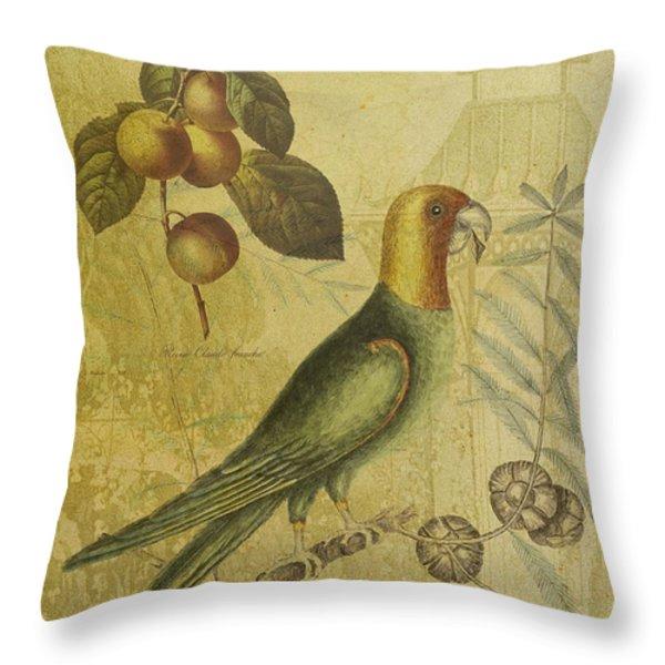 Parrot With Plums Throw Pillow by Sarah Vernon