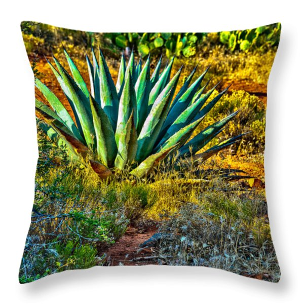 Parry's Agave Sometimes Called Century Plant Throw Pillow by Bob and Nadine Johnston