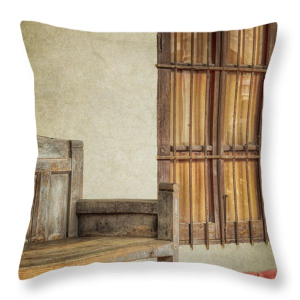 Part Of A Bench Throw Pillow by Joan Carroll