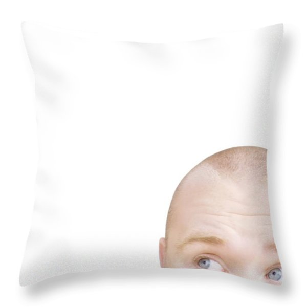 Part Of A Mans Head Looking Sideways Throw Pillow by Chris and Kate Knorr