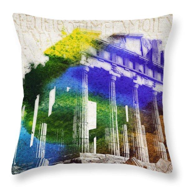 Parthenon Throw Pillow by Aged Pixel