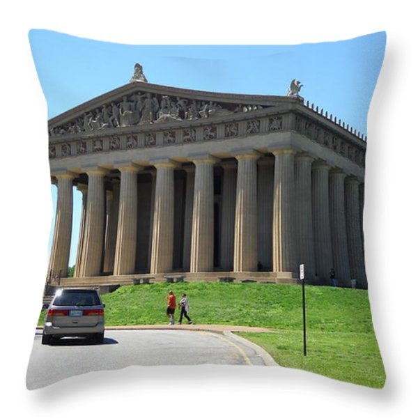 Parthenon In Nashville Throw Pillow by Paula Talbert
