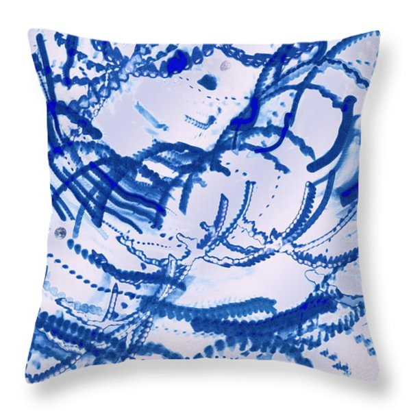 Particles of Blue Throw Pillow by Kellice Swaggerty