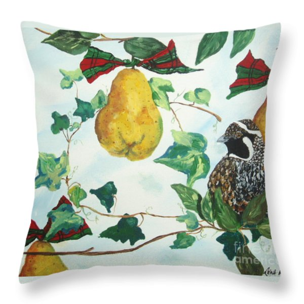 Partridge And  Pears  Throw Pillow by Reina Resto