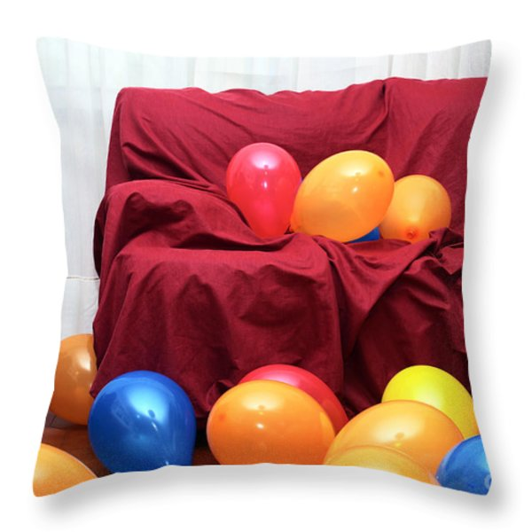 Party Balloons Throw Pillow by Carlos Caetano