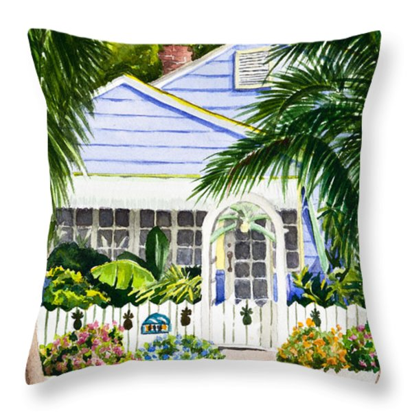 Pass-a-grille Cottage Watercolor Throw Pillow by Michelle Wiarda