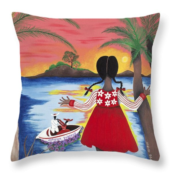 Pass The Path Throw Pillow by Patricia Sabree