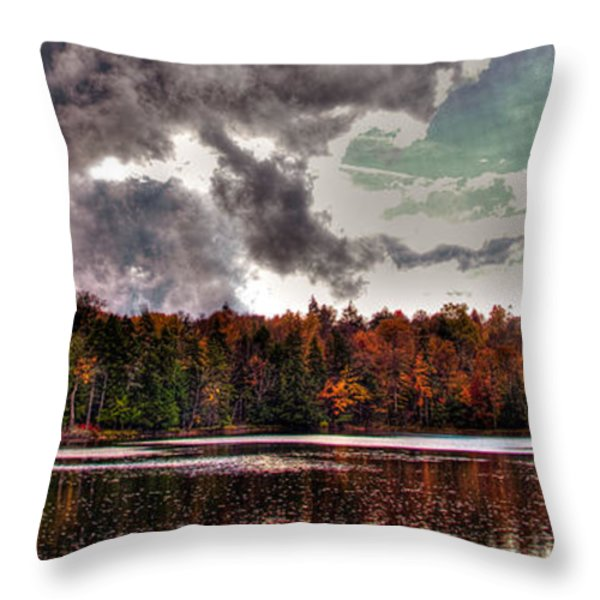 Passing Storm Over Cary Lake Throw Pillow by David Patterson