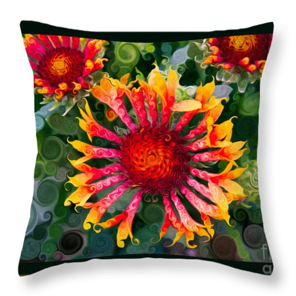 Passionate Pinwheels And Blooming Abstract Flower Art Throw Pillow by Omaste Witkowski