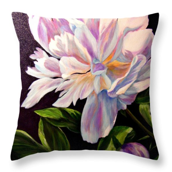 Pastel Peony Throw Pillow by Anne Barberi