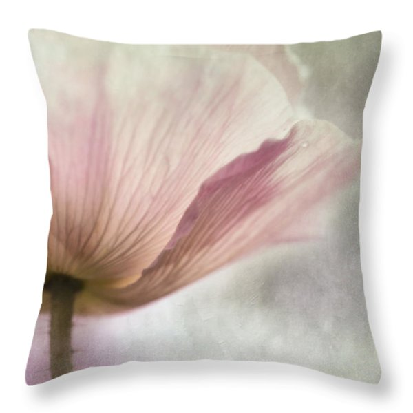 pastel pink poppy Throw Pillow by Priska Wettstein