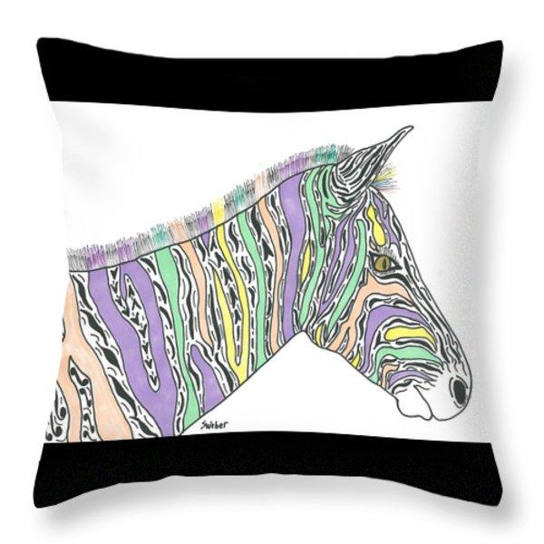 Pastel Zebra  Throw Pillow by Susie Weber