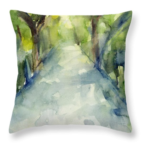 Path Conservatory Garden Central Park Watercolor Painting Throw Pillow by Beverly Brown Prints