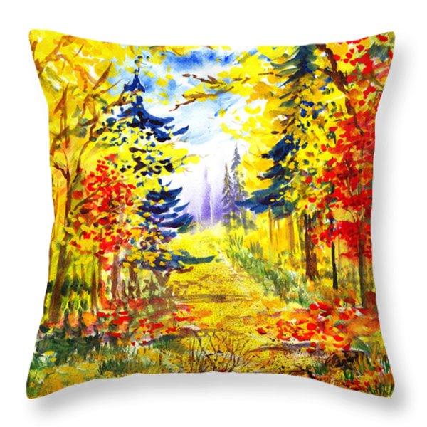 Path To The Fall Throw Pillow by Irina Sztukowski