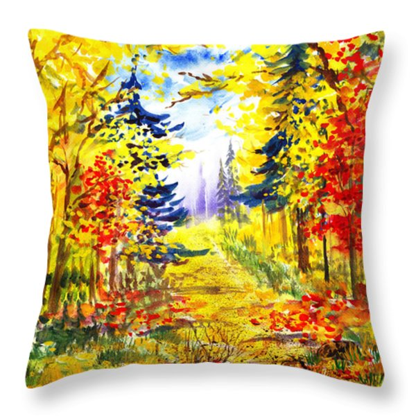 Path To The Fall Throw Pillow by Irina Sztukowski