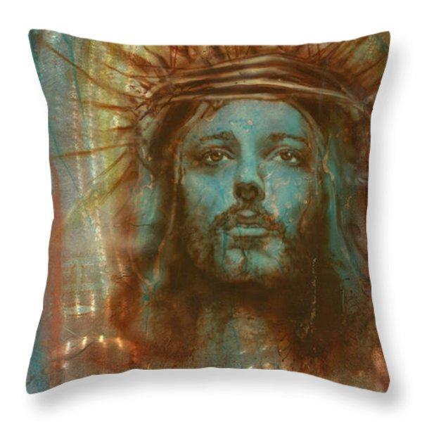 Patina Christ Throw Pillow by Luis  Navarro