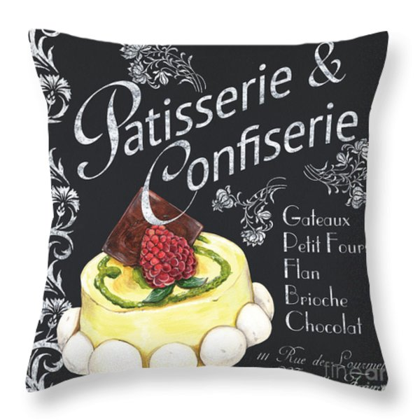 Patisserie and Confiserie Throw Pillow by Debbie DeWitt
